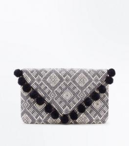 Black Pom-Pom Trim Envelope Clutch, New Look, £15.99