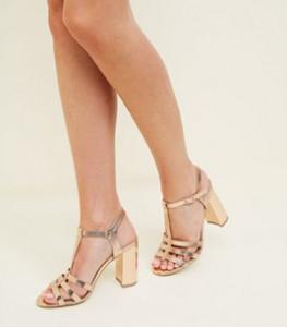 Rose Gold Metallic T-Bar Gladiator Block Heels, New Look, £25.99